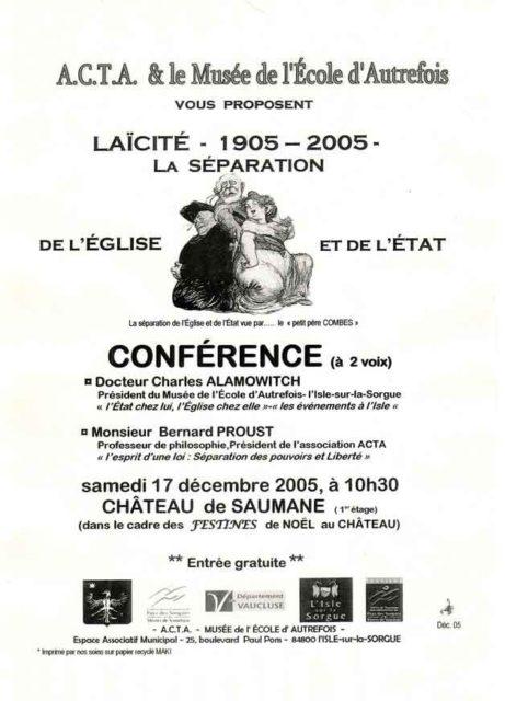 17 décembre 2005 - Conférence sur la laïcité avec Charles Alamowitch et Bernard Proust