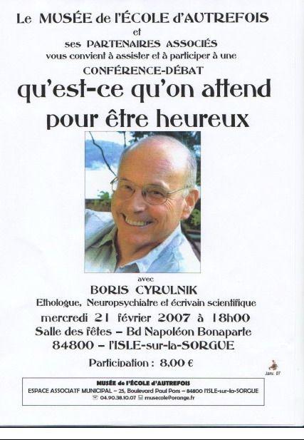 21 février 2007 - Conférence-débat avec Boris Cyrulnik