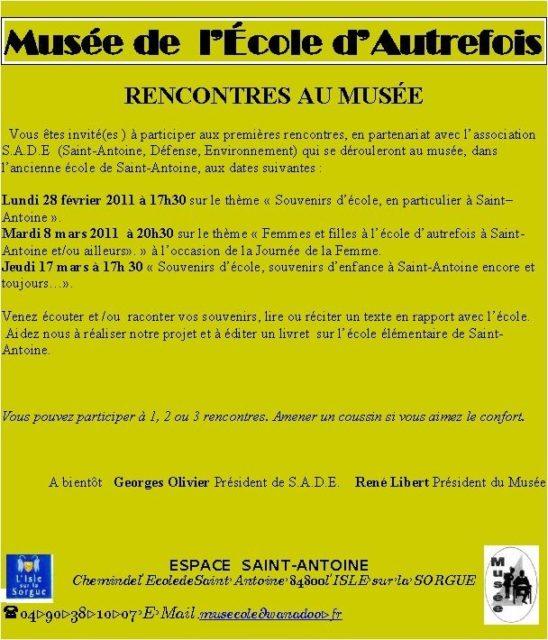 Du 27 février au 17 mars - Rencontres au Musée en partenariat avec SADE