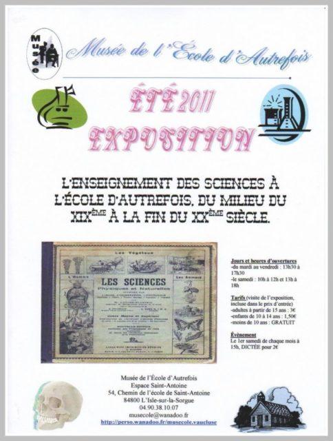 Été 2011 - Exposition : l'enseignement des sciences à l'école d'autrefois