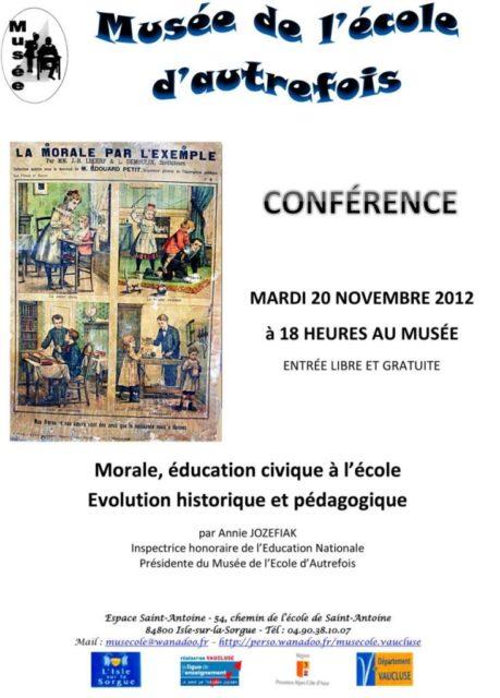 20 novembre 2012 - Morale, éducation civique à l'école