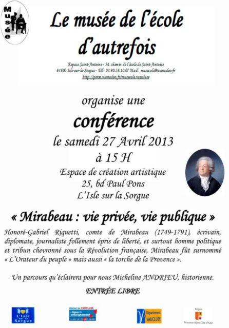 27 avril 2013 - Conférence : Mirabeau