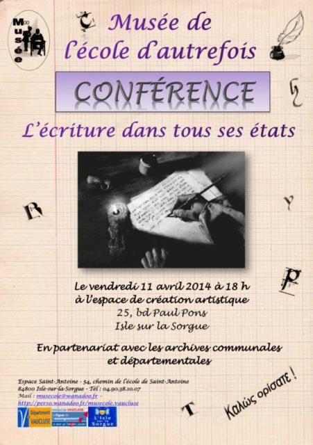 11 avril 2014 - Conférence : l'écriture dans tous ses états