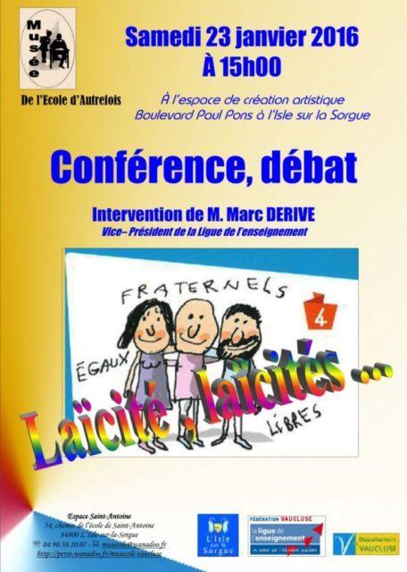 23 janvier 2016 - Laïcités avec Marc Derive
