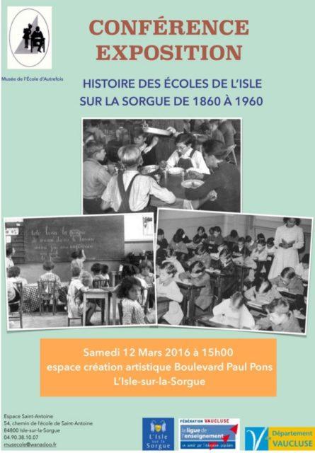12 mars 2016 - histoire des écoles à L'Isle