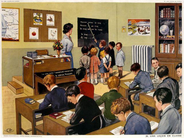 Une leçon en classe (plusieurs niveaux) 1958