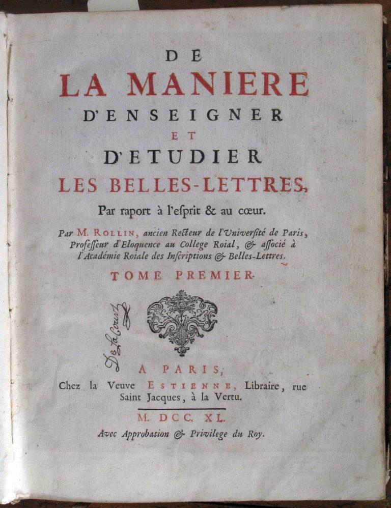 Manuel de pédagogie de 1740