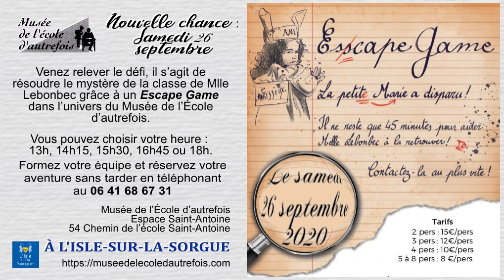 Août, septembre, octobre 2020 - Escape games
