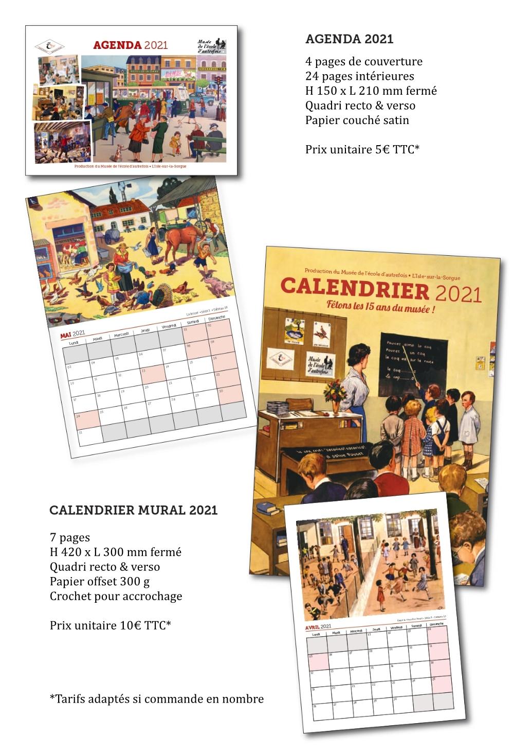 Agenda et calendrier mural 2021